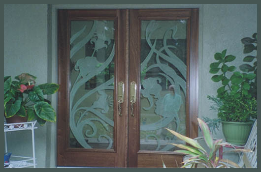 doors sarasota florida glass etched lillies